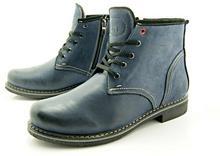 KENT KENT 238 GRANAT - Skórzane buty zimowe ocieplone naturalnym futrem