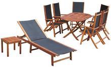 vidaXL Zestaw mebli ogrodowych, 9 części, drewno akacjowe i textilene