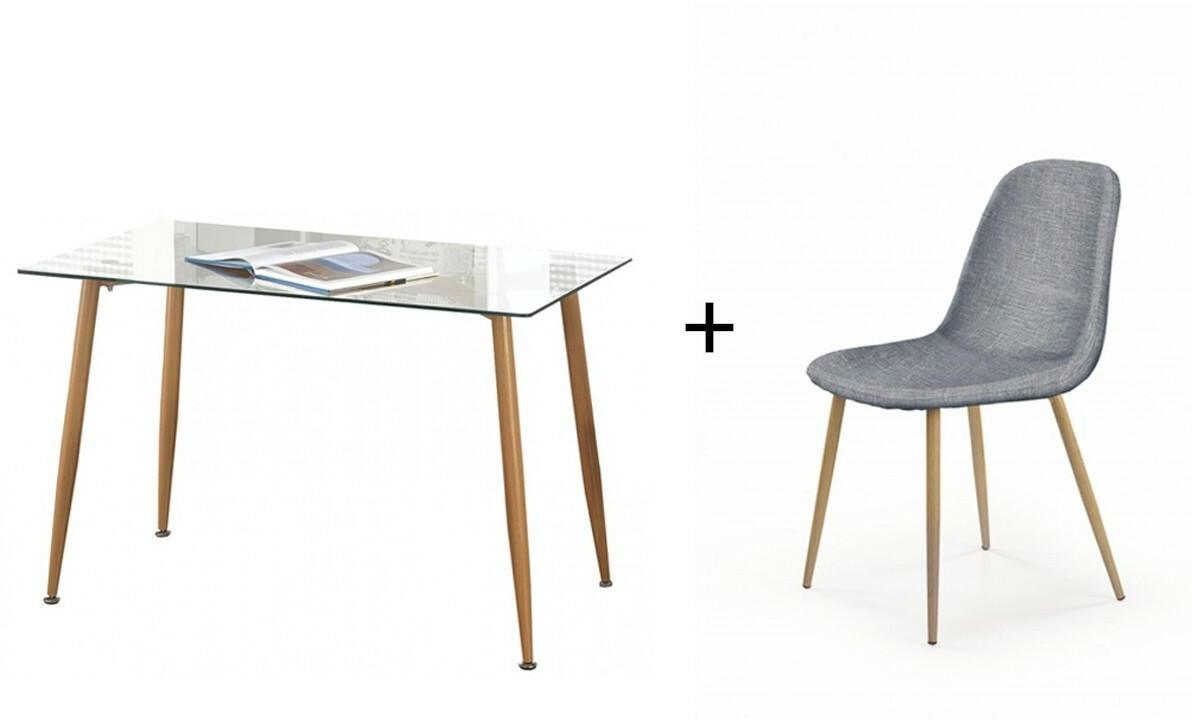 Zestaw stół szklany Bord i cztery krzesła Nord, jasny
