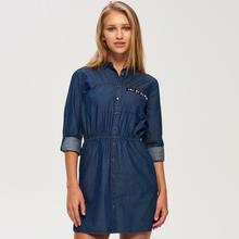 Sinsay Sinsay - Bawełniana jeansowa sukienka - Niebieski