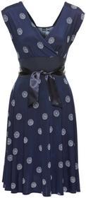 Bonprix Sukienka ciemnoniebiesko-biały wzorzysty