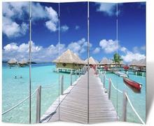 vidaXL Parawan (200 x 180) z motywem plaży, dwustronny