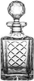 CRYSTALLIZED aljulia 7765karafka do whisky szkło ołowiowe kryształowe, ręcznie szlifowane, wzór karo z grawerunkiem na kuchenna, 0,75L