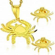 Biżuteria e-shop Zestaw ze stali 316L złotego koloru - zawieszka i kolczyki, znak zodiaku RAK