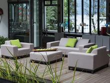 Meble ogrodowe beżowe - do salonu - komplet - sofa ogrodowa - ROVIGO