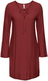 Bonprix Sukienka shirtowa ze sznurowaniem czerwony kasztanowy