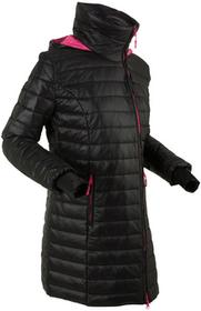 Bonprix Długa kurtka outdoorowa z kapturem, z workiem czarno-ciemnoróżowy
