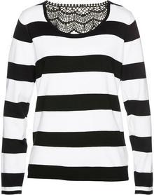 Bonprix Sweter z koronką czarno-biały w paski