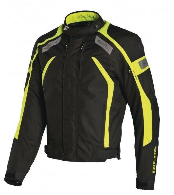 c4b3a4dc8400a Adrenaline RICHA - ODZIEŻ I OBUWIE MOTOCYKLOWE RICHA Męska tekstylna kurtka  motocyklowa czarna/zielona fluo
