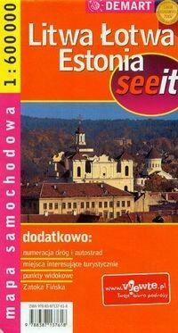 Demart Litwa, Łotwa, Estonia - mapa samochodowa (skala 1:600 000) - Demart