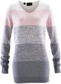 Bonprix Długi sweter z kaszmirem pastelowy jasnoróżowy - szary melanż