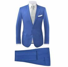 vidaXL Garnitur męski dwuczęściowy, błękitny, rozmiar 54