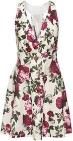 Bonprix Sukienka w kwiaty kremowo-czerwony w kwiaty