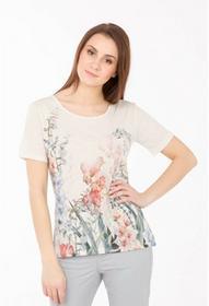 Monnari Lniany t-shirt w kwiaty