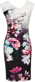 Bonprix Sukienka w kwiaty czarno lila w kwiaty