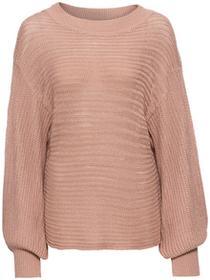 Bonprix Sweter oversize w ażurowy wzór dymny różowy