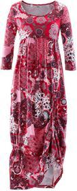 Bonprix Sukienka shirtowa, rękawy 3/4 czerwony klonowy wzorzysty