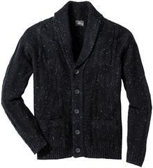 Bonprix Sweter rozpinany z szalowym kołnierzem i efektowną przędzą Regular Fit ciemnoantracytowy