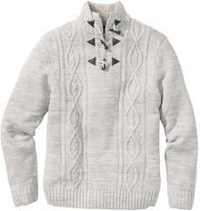 Bonprix Sweter w warkocze Regular Fit jasnoszary melanż
