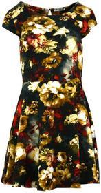Sukienka w kwiaty (brązowo czerwona) : Rozmiar - L