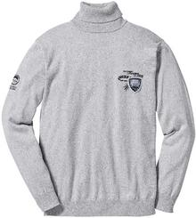 Bonprix Sweter z golfem Regular Fit jasnoszary melanż