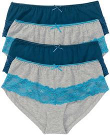 """Bonprix Figi """"panty"""" (4 pary) niebieskozielono-jasnoszary melanż"""