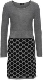 Bonprix Sukienka dzianinowa w kropki czarno-szary wzorzysty