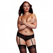 Baci Lingerie Szorty - Black Rose Open Crotch Boyshort Panty Queen Size