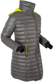 Bonprix Długa kurtka outdoorowa z kapturem, z workiem szaro-zielona limonka