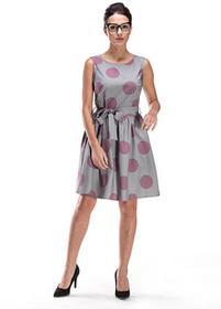 Rozkloszowana sukienka z wiązaniem w grochy