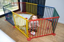 Baby Maxi Wielofunkcyjny kolorowy Kojec drewniany z bramką zagroda 445 Zagroda Kolor