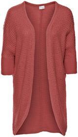 Bonprix Długi sweter bez zapięcia rabarbarowy