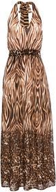 Bonprix Długa sukienka z nadrukiem brązowo-kremowy w animalistyczny deseń