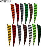 24 sztuk ONTFIHS 4 Cal tarcza Cut strzałka pióra paski prawdziwe turcja Cut Feather łucznictwo