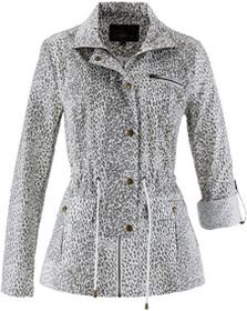Bonprix Długa kurtka w cętki leoparda biało-szary z nadrukiem