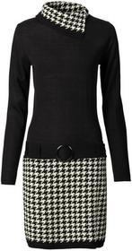 Bonprix Sukienka dzianinowa czarno-kremowy