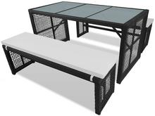 vidaXL Zestaw mebli ogrodowych, 5 części, polirattan, czarny