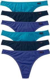 Bonprix Stringi (6 par w opak.) szafirowy+ciemnoturkusowy+ciemnoniebieski