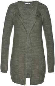 Bonprix Sweter bez zapięcia ciemnooliwkowo-srebrny
