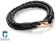 Midhaven Podwójna czarna bransoleta skórzana z zapięciem Rose Gold T758-2R T758-2R-BLK/356