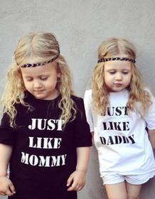 Slow Village T-shirty dla bliźniaków 'Just Like daddy, mommy
