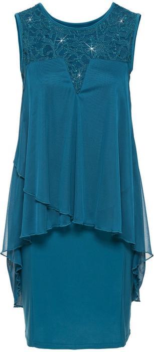Bonprix Sukienka z dżerseju i szyfonu niebieskozielony morski