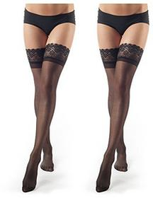 ElsaYX elsayx damskie rajstopy Stockings halterlos elastyczny - B077TPS4FL