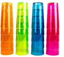 NEON STYLES Neon Styles szklanka fluorescencyjna do long drinków, 250 ml, neonowe kolory (różowy, zielony, pomarańczowy, niebieski), 20 sztuk UV11329-20