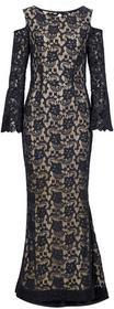 Bonprix Sukienka z koronką czarno-jasnobrązowy