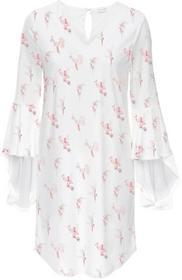 Bonprix Sukienka z rękawami z wolantem biel wełny z nadrukiem