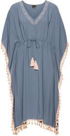 Bonprix Sukienka z ozdobną tasiemką dymny niebieski - jasny brzoskwiniowy