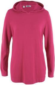 Bonprix Sweter z kapturem jeżynowo-czerwony