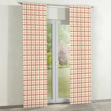 Dekoria Zasłony panelowe 2 szt. ecru tło czerwona kratka 60 x 260 cm Avinon 350-131-15