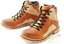 KENT KENT 220 KARMELOWE - Wysokie buty zimowe ze skóry, naturalne futro